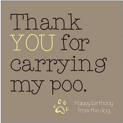 Thank You For Carrying My Poo - humorous Greetings Card