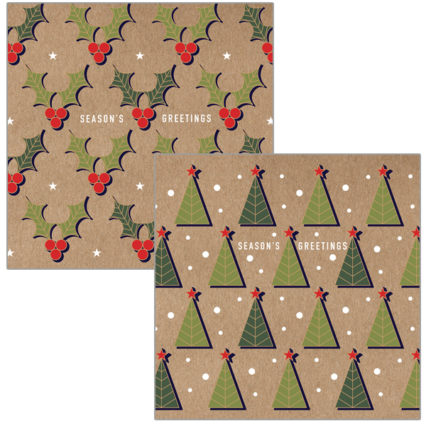 Trees & Holly (2 designs) - 10 Pack of Christmas cards