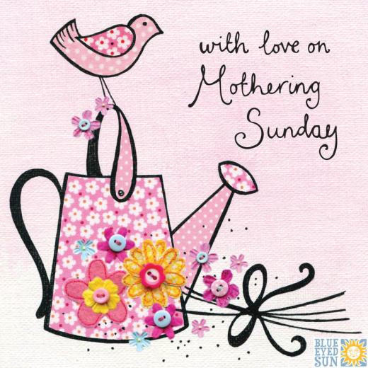 With love on mothering sunday - cute mother's day card