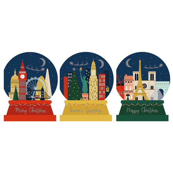 City Snow Globes - Unique Christmas card