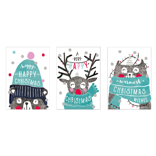 Cute Christmas Animals - 12 Pack Of Christmas Cards
