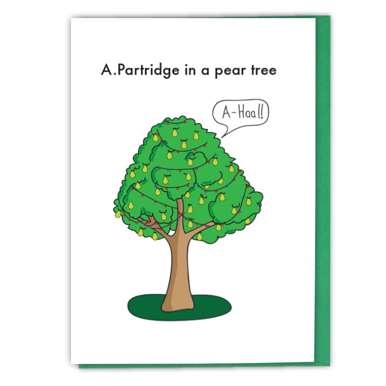 Alan Patridge In A Pear Tree shouting aha! - Funny Christmas card