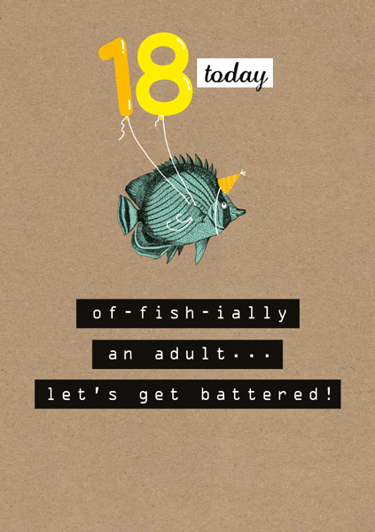 Of-fish-ially 18 - funny 18th birthday card